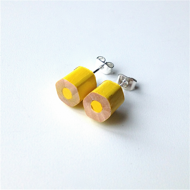 Yellow Pencil Stud Earrings Artist Teacher Gift