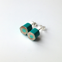 Turquoise Pencil Stud Earrings Artist Teacher Gift