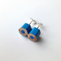 Blue Pencil Stud Earrings Artist Teacher Gift