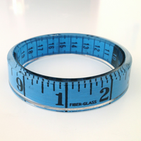 Blue Tape Measure Bangle Sewing Jewellery. Handmade in Ireland. Sewing Theme