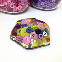 Candle Holder  Mutli Coloured Button Resin