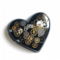 Steampunk Heart Black Brooch