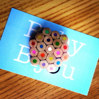Colouring Pencil Brooch Teacher Gift. Handmade in Ireland