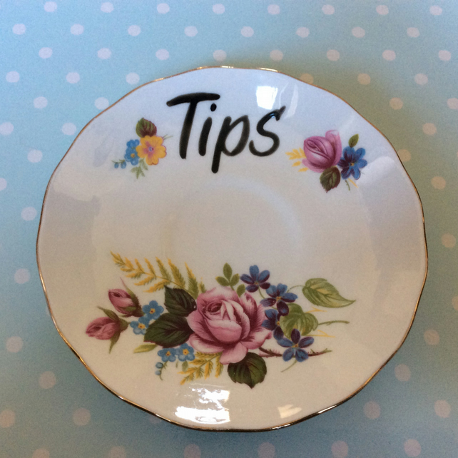 SALE - Vintage orphan saucer for tips REDUCED