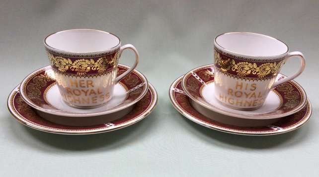 His & Her Royal Highness altered china coffee cup trio - reduced