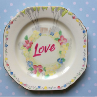 'Love' Decorative altered vintage tea plate - Wall hanging