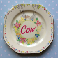 'Cow' Decorative altered vintage tea plate - Wall hanging