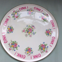 Beautiful vintage cake plate platter altered with 'oink, oink, oink'