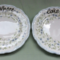 Set of two vintage Royal Albert 'Caroline' altered 'cake whore' tea cake plates