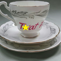 Warning profanities - Beautiful 'Tw)t face' altered vintage teacup trio