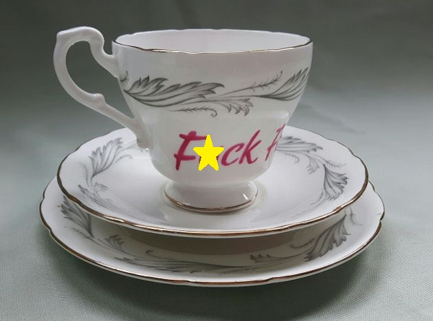 Warning profanities - Beautiful 'F)ck face' altered vintage teacup trio