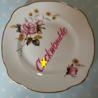 'Cockwomble' - Decorative altered vintage tea plate - wall hanging