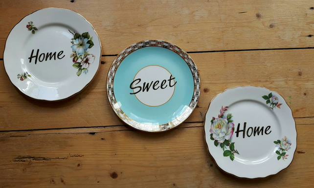 'Home Sweet Home' decorative vintage tea plate wall hanging decoration