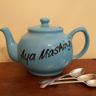 'Aya Mashing?' large 4 cup blue teapot