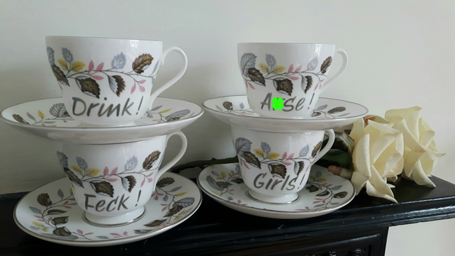 Warning profanities - Father Ted... Jack inspired four cup and saucers tea set