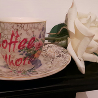 Warning profanities - 'coffee whore' vintage espresso coffee cup and saucer