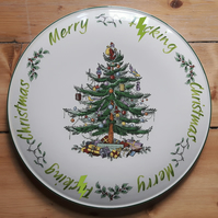Beautiful Spode cake plate stand altered with 'Merry f)cking Christmas'