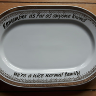 Sale - Large vintage altered serving plate 'Normal family'