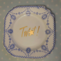 'Tw)t' Decorative altered vintage tea plate - Wall hanging