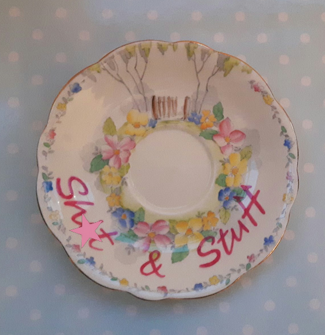 Warning profanities - Vintage orphan saucer trinket tray for your sh)t & stuff