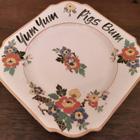 Beautiful vintage cake stand altered with 'yum yum pigs bum'