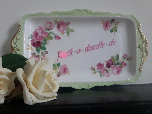 Pretty F)ck - a - doodle - do altered vintage serving plate sandwich tray