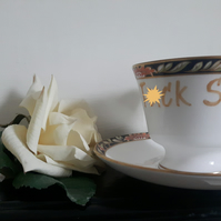 Warning profanities - 'For F)ck Sake!'  altered vintage Spode teacup