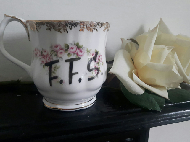 Royal Albert altered bone china mug - coffee cup 'F.F.S'