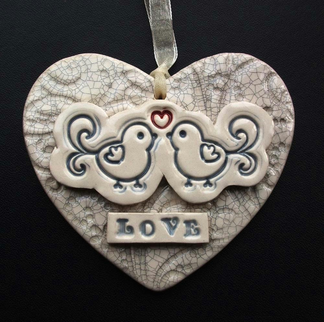 Valentines ceramic heart decoration