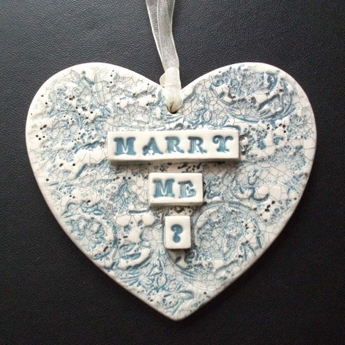 Marry Me? proposal ceramic heart decoration