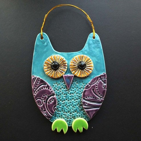 Blue Owl ceramic hanging decoration