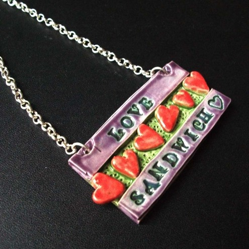 Love Sandwich ceramic pendant
