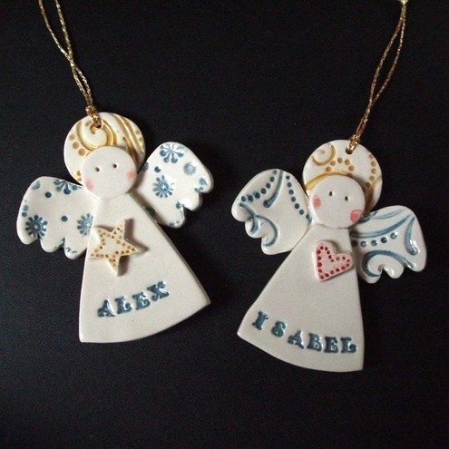 Personalised Ceramic Christmas Angels
