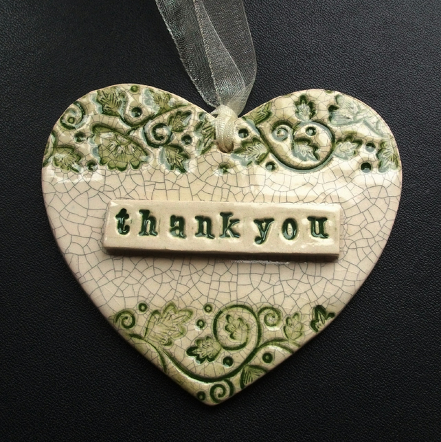 ceramic Thankyou heart decoration