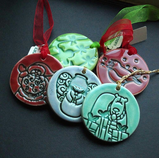 Set Of Five Assorted Ceramic Christmas Decorations
