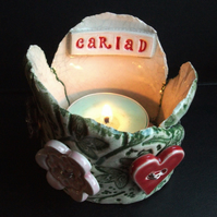 Cariad ceramic tea light holder with heart and flower buttons