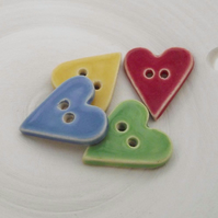 set of four bright heart ceramic buttons