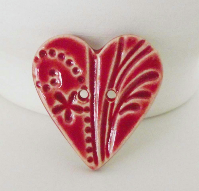 Large red heart shaped ceramic button