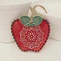 ceramic Folk art style red apple decoration