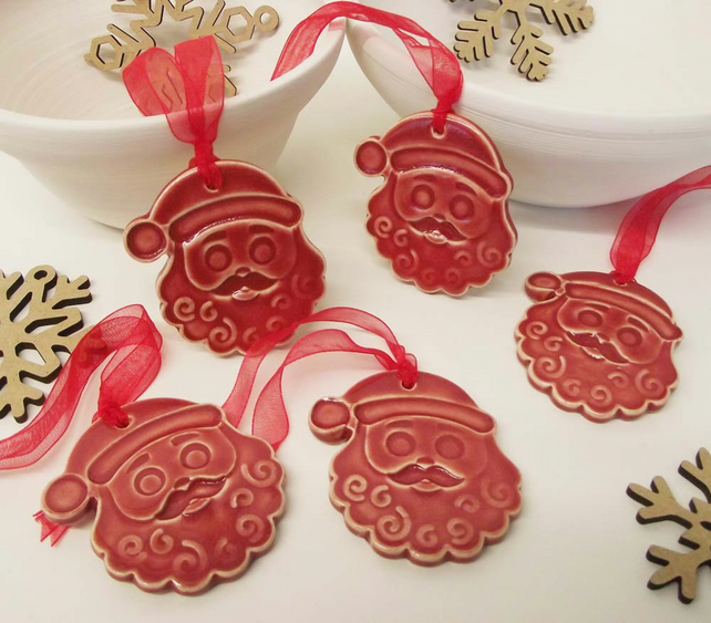 Small red ceramic Santa head decoration Father Christmas