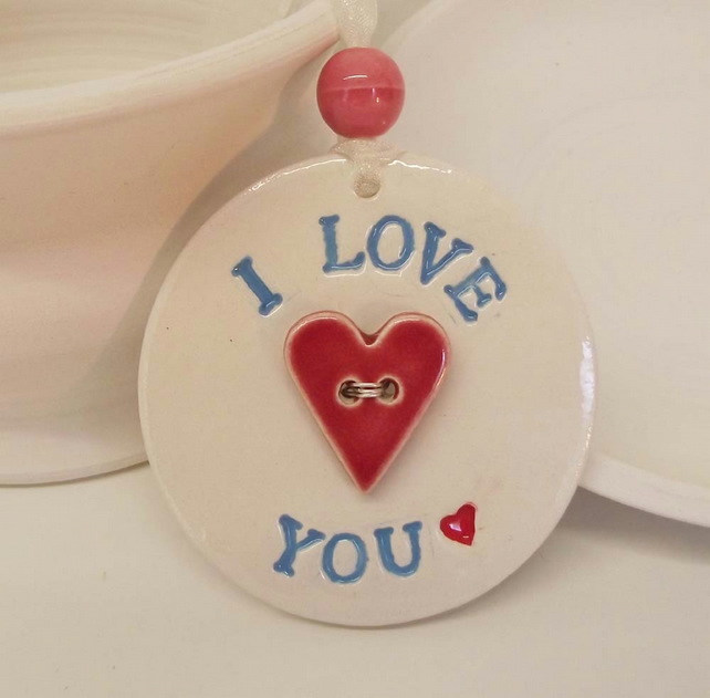 Ceramic decoration I Love You with loveheart button