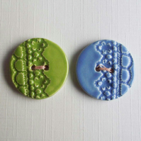 Set of two lace design large ceramic buttons
