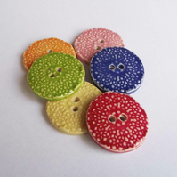 Set of six large ceramic buttons