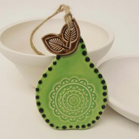 ceramic Folk art style green pear decoration