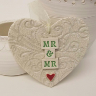 Ceramic Wedding heart decoration Mr and Mr Groom