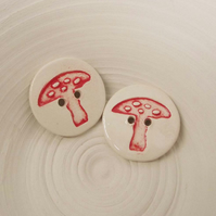 Set of two large ceramic toadstool buttons