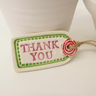 Small ceramic Thank You gift tag decoration with flower