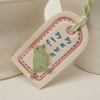 Sale Small ceramic gift tag decoration with bird fly away