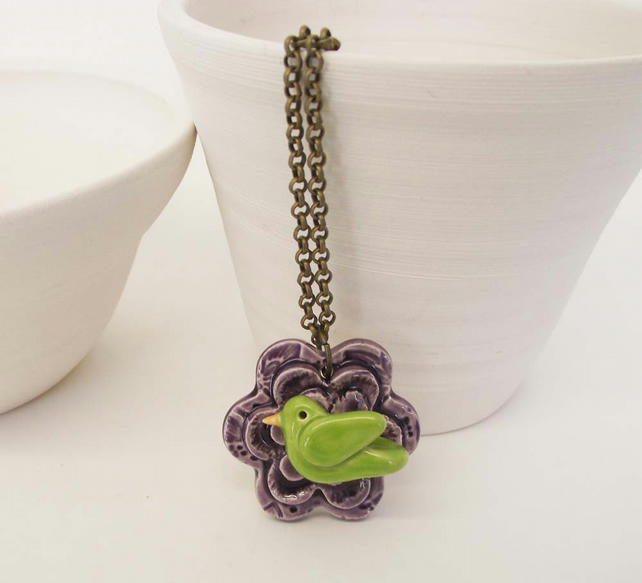 Sale Ceramic flower and bird pendant