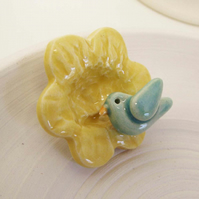 Sale little bird on a flower ceramic brooch